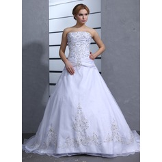 Ball-Gown Strapless Chapel Train Satin Organza Wedding Dress With Embroidered Beading