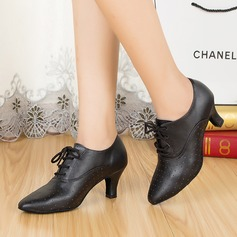 Women's Real Leather Pumps Practice With Hollow-out Dance Shoes