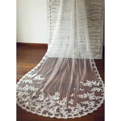 One-tier Cathedral Bridal Veils With Lace Applique Edge (006089549)