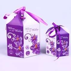 Floral Design Favor Boxes With Ribbons