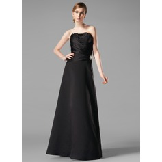 A-Line/Princess Scalloped Neck Floor-Length Satin Bridesmaid Dress With Ruffle Crystal Brooch