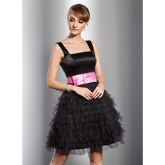 A-Line/Princess Square Neckline Knee-Length Satin Tulle Cocktail Dress With Sash Bow(s) Cascading Ruffles
