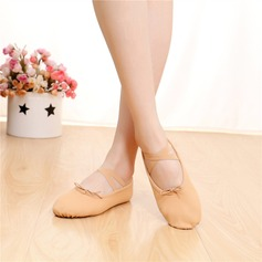 Women's Satin Flats Ballet Practice With Lace-up Dance Shoes