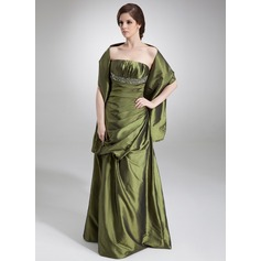 A-Line/Princess Strapless Floor-Length Taffeta Evening Dress With Ruffle Beading Sequins