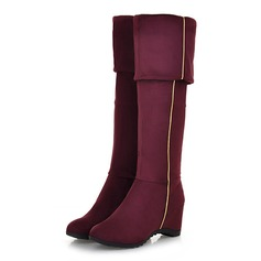 Women's Suede Low Heel Over The Knee Boots With Zipper shoes (088097400)