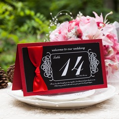Pearl Paper Table Number Cards With Ribbons