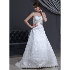 A-Line/Princess Strapless Court Train Lace Wedding Dress With Sash Beading Bow(s)
