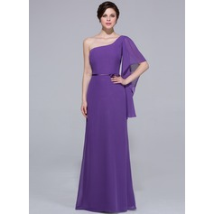 Sheath/Column One-Shoulder Floor-Length Chiffon Bridesmaid Dress