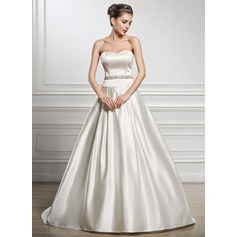 A-Line/Princess Sweetheart Court Train Satin Wedding Dress With Beading Sequins
