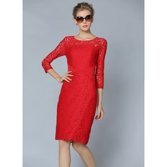 Polyester/Lace With Lace Knee Length Dress (199087063)