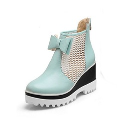 Women's Leatherette Wedge Heel Closed Toe Wedges Ankle Boots With Bowknot shoes