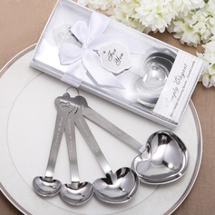 """""""Love Beyond Measure"""" Heart Shaped Stainless Steel Spoon Set With Ribbons/Tag"""
