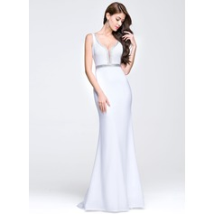 Trumpet/Mermaid V-neck Sweep Train Prom Dress With Beading Sequins