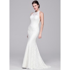 Sheath/Column Scoop Neck Sweep Train Lace Wedding Dress With Beading Sequins
