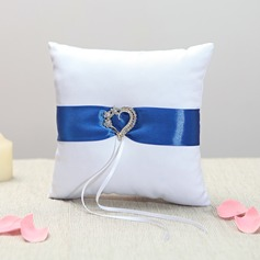 Rhinestone Heart Ring Pillow in Cloth With Ribbons/Sash/Rhinestones