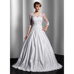 Ball-Gown V-neck Floor-Length Satin Wedding Dress With Lace Beading Sequins