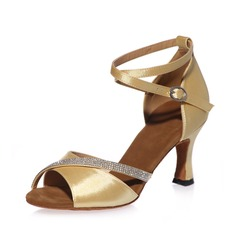Women's Satin Heels Sandals Latin With Rhinestone Ankle Strap Dance Shoes