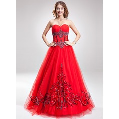 A-Line/Princess Sweetheart Floor-Length Tulle Quinceanera Dress With Embroidered Beading Sequins