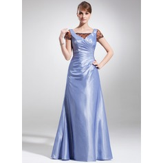 A-Line/Princess Square Neckline Floor-Length Taffeta Lace Mother of the Bride Dress With Ruffle