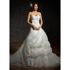 Ball-Gown Sweetheart Chapel Train Satin Organza Wedding Dress With Ruffle Beading Appliques Lace Sequins