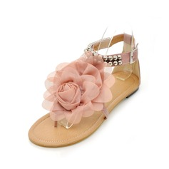 Leatherette Flat Heel Sandals Flats Peep Toe With Beading Buckle Flower shoes