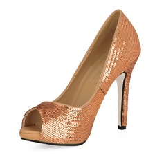 Leatherette Stiletto Heel Sandals Peep Toe With Sequin shoes (085016478)