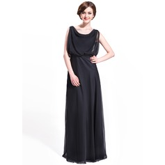 A-Line/Princess Cowl Neck Floor-Length Chiffon Evening Dress With Ruffle Beading