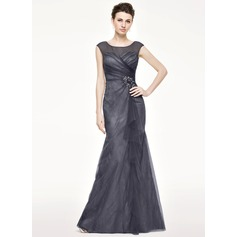 Trumpet/Mermaid Scoop Neck Floor-Length Tulle Lace Mother of the Bride Dress With Beading Flower(s) Sequins Cascading Ruffles