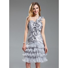A-Line/Princess One-Shoulder Knee-Length Taffeta Organza Cocktail Dress With Beading Flower(s) Cascading Ruffles