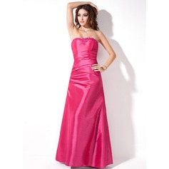 A-Line/Princess Strapless Floor-Length Taffeta Bridesmaid Dress With Ruffle Beading Appliques Lace