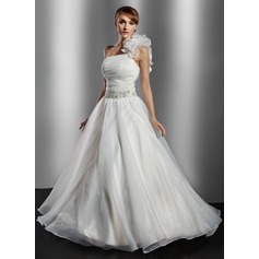 Ball-Gown One-Shoulder Floor-Length Organza Wedding Dress With Ruffle Beading Flower(s) Sequins
