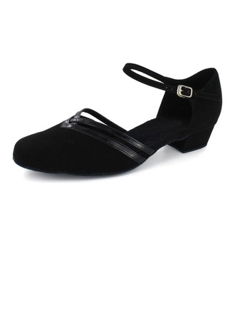 Women's Patent Leather Nubuck Flats Modern With Ankle Strap Dance Shoes