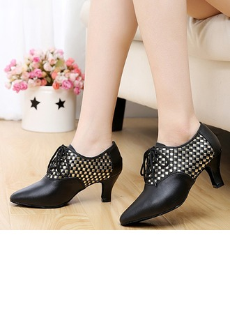Women's Real Leather Flats Sneakers Latin Jazz Practice Party Tango With Hollow-out Dance Shoes