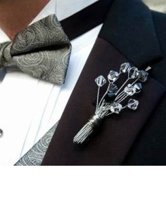 Classic Hand-tied Crystal Boutonniere/Men's Accessories