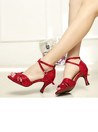 Women's Suede Heels Pumps Latin Jazz Practice Party Tango With Ankle Strap Dance Shoes