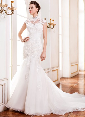 Trumpet/Mermaid High Neck Cathedral Train Organza Lace Wedding Dress With Beading Sequins