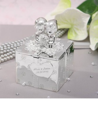 Personalized Bride And Groom Zinc Alloy Jewelry Holders