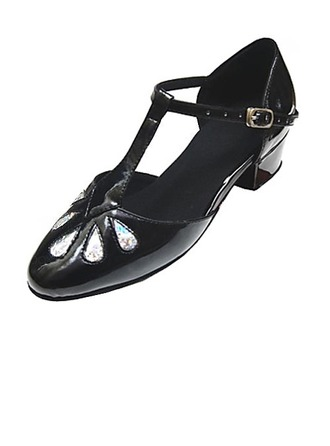 Kids' Leatherette Patent Leather Flats Modern Ballroom With T-Strap Dance Shoes