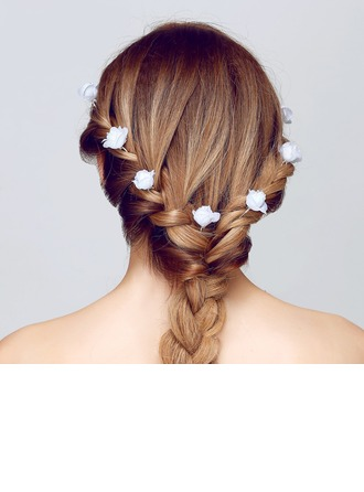 Gorgeous White Rose Alloy/Fabric Hairpins(Set of 3)
