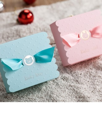 Baby Boy/Girl Cuboid Favor Boxes With Ribbons