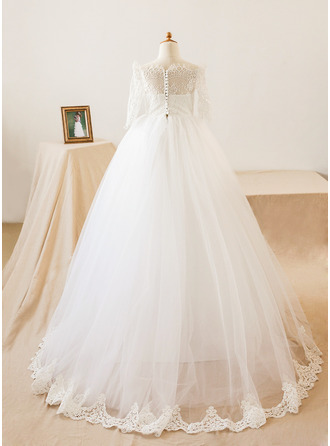 A-Line/Princess Floor-length Flower Girl Dress - Tulle/Lace 3/4 Sleeves Bateau With Appliques