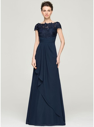 A-Line/Princess Off-the-Shoulder Floor-Length Chiffon Lace Mother of the Bride Dress With Cascading Ruffles