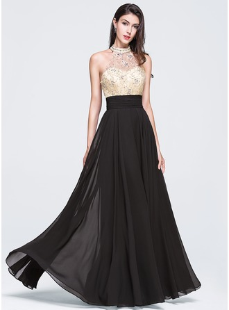 A-Line/Princess High Neck Floor-Length Chiffon Prom Dress With Beading Sequins