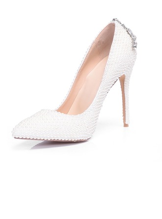 Women's Real Leather Stiletto Heel Closed Toe Pumps With Imitation Pearl Crystal