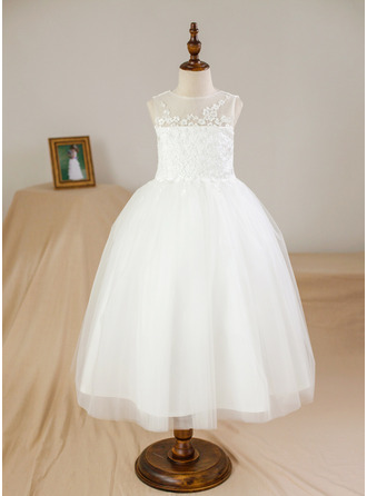 Ball Gown Tea-length Flower Girl Dress - Satin/Tulle Sleeveless Scoop Neck With Appliques
