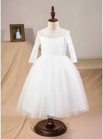 Ball Gown Tea-length Flower Girl Dress - Satin/Tulle/Lace Long Sleeves Scoop Neck