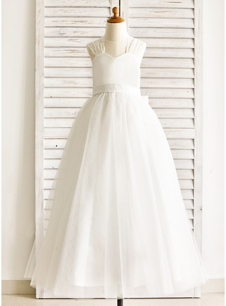 A-Line/Princess Floor-length Flower Girl Dress - Lace/Cotton Straps With Bow(s)