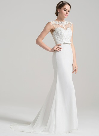 Sheath/Column Scoop Neck Sweep Train Chiffon Lace Wedding Dress With Bow(s)