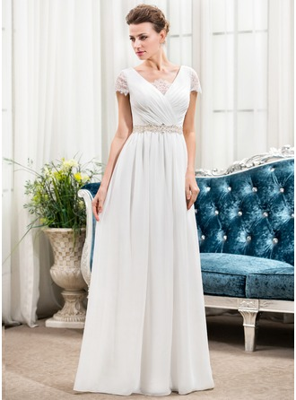 A-Line/Princess V-neck Floor-Length Chiffon Wedding Dress With Ruffle Lace Beading Sequins