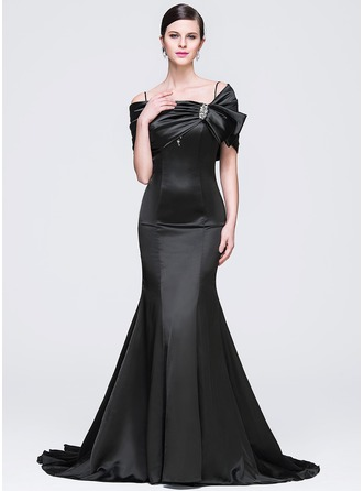 Trumpet/Mermaid Off-the-Shoulder Court Train Satin Evening Dress With Beading Sequins